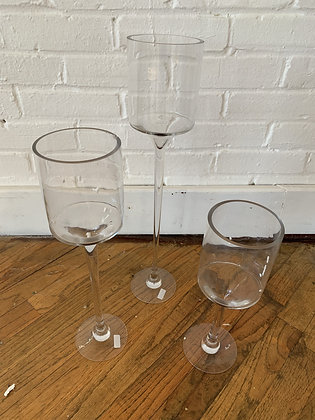 Floating Tall Glass Footed Candle Holder