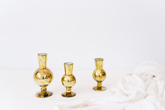 Gold Mercury Glass Footed Bud vase