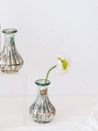SM Fluted Mercury Glass Bud vase