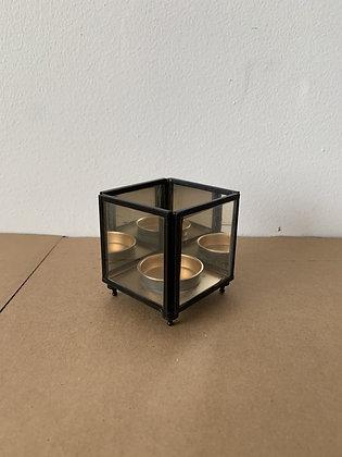 Trio-Glass Black/gold Votive