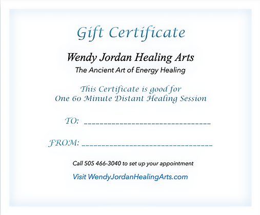 Gift Certificate - 1 Hr. Distant Healing Reiki Treatment