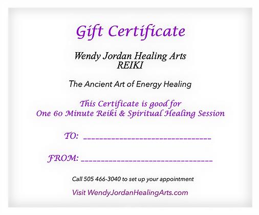 Gift Certificate - 1 Hr. Reiki Treatment
