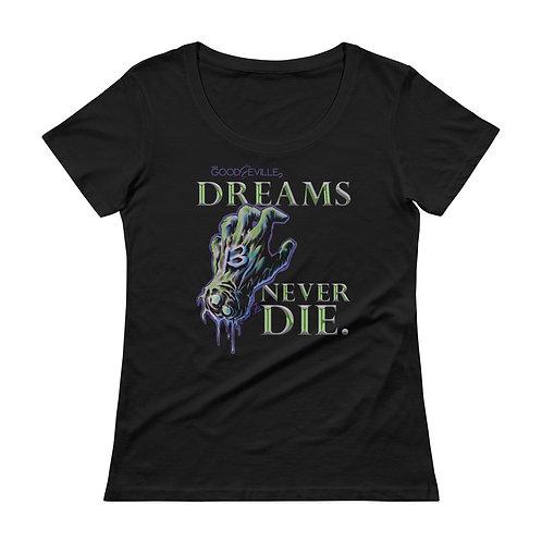 """""""DREAMS NEVER DIE"""" Mask Back Ladies' Scoopneck Tee"""