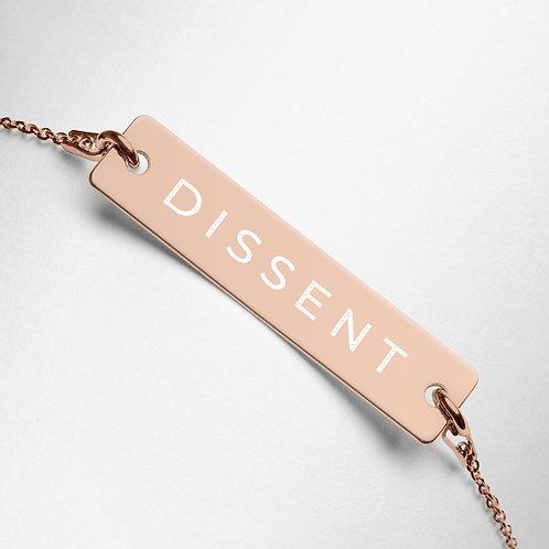 """RBG """"DISSENT"""" Engraved Bar Chain Bracelet"""