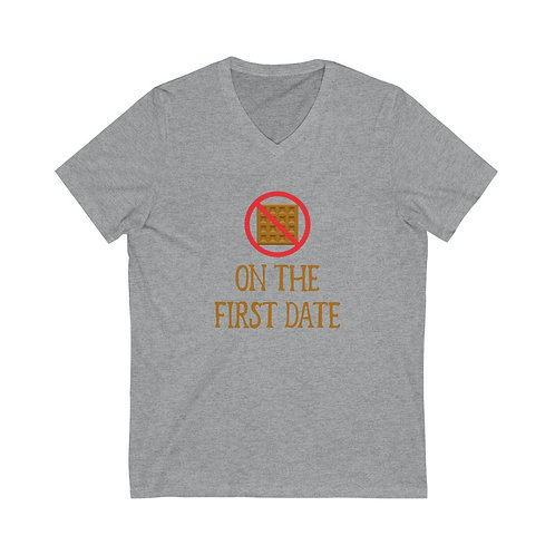 """No Waffles on the First Date"" V-neck Tee"