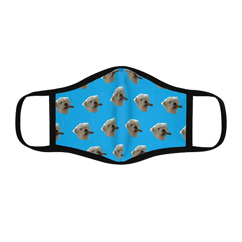 """Rocky"" Cigar Smoking Puppy Fitted Face Mask"