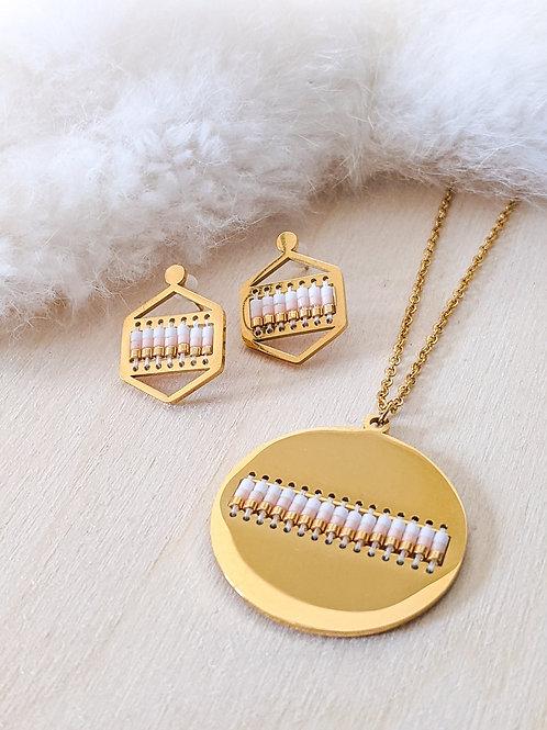 Circular Gold Plated Necklace & Hexagon Stud Set