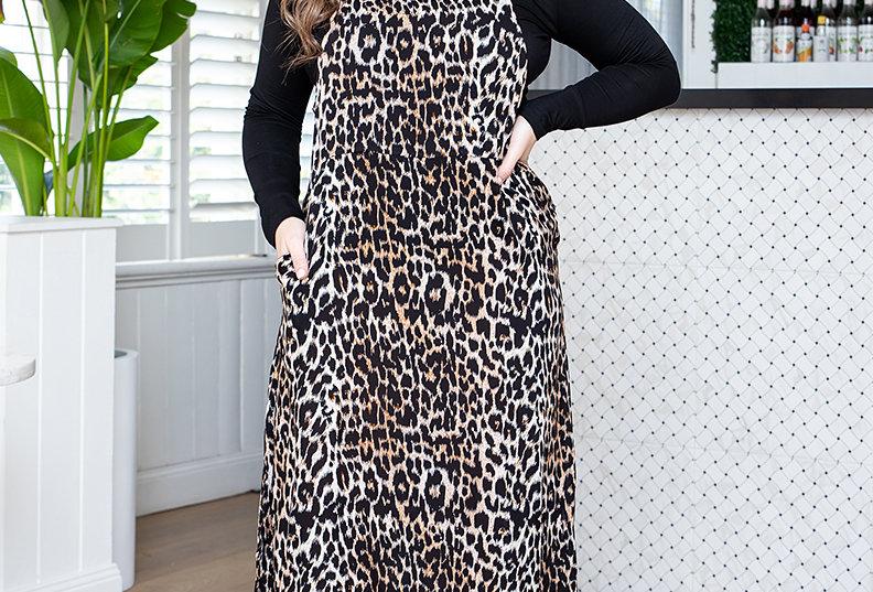 FREEZ Apron Dress -Tan/Black Animal Print