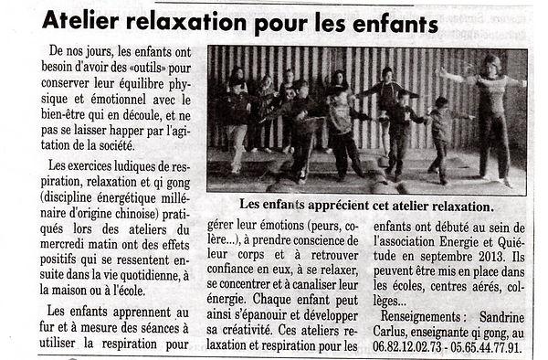Atelier relaxation auprès d'enfants à Le Nayrac