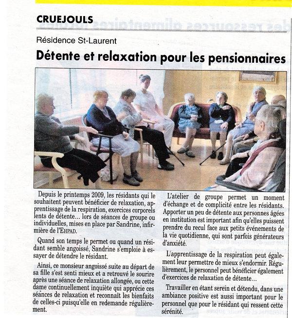 Atelier relaxation auprès des personnes âgées à Cruéjouls