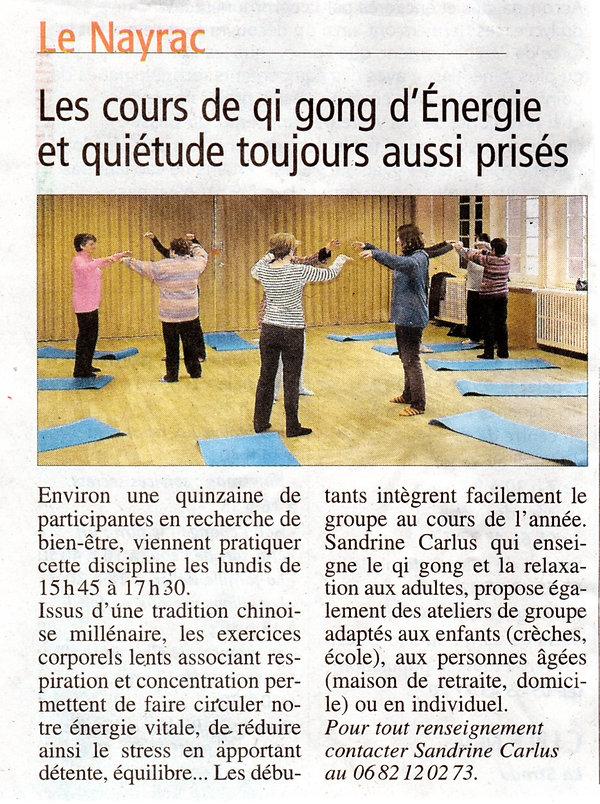 Cours de qi gong au Nayrac par Sandrine Carlus