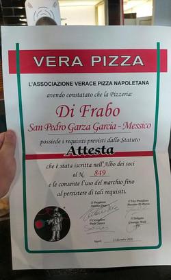 Certificado Verace Pizza Napoletana