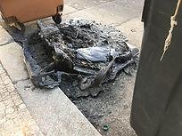 Třídění odpadu | vyhořelý kontejner na směsný odpad