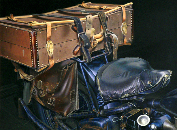 Motorcycle with suitcase