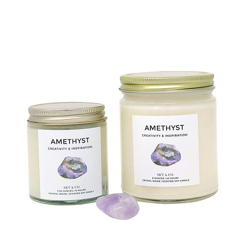 Amethyst Crystal Infused Candle