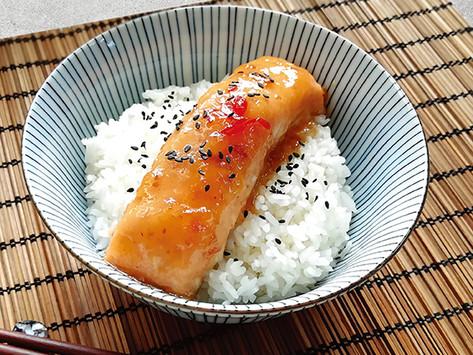 Baked Salmon with Plum Sauce Rice Bowl 梅香三文魚丼