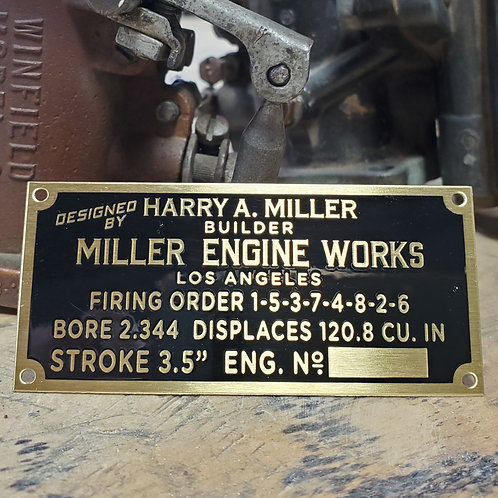 Official Harry A. Miller® 120ci Engine Tag