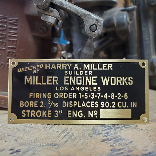 Official Harry A. Miller® 90ci Engine Tag