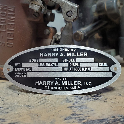 Official Harry A. Miller® Aluminum Engine Tag