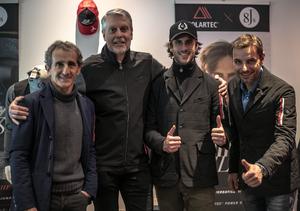 Alain Prost ; Gary Smith, pdg de Polartec ; Sacha