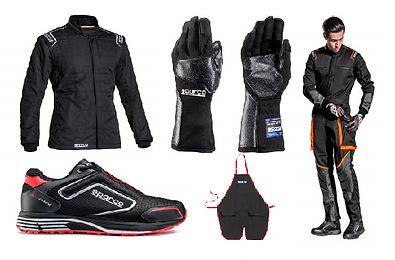 Abbigliamento meccanico Sparco, guanti, tute, scarpe