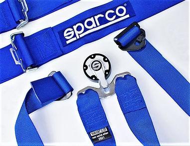 Cinture Sparco 6 punti omologati Fia. Cinture Sparco e Sabelt strette e larghe, da 3'' e da 2''.