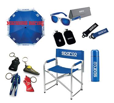 Accessori Sparco, portachiavi, occhiali, borraccia, ombrello.