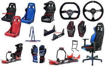 Postazioni gaming, sedili Sparco, telaio gaming, corone, staffe sedili, guanti, cinture e guanti.