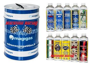 Benzina magigas da 25 litri e da 50 litri. Disponibili anche gli additivi da 500ml e da 1 litro.