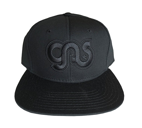 GAS Snapback hat black on black logo