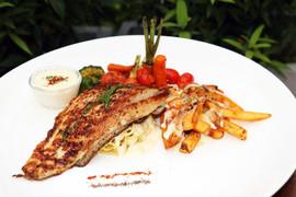 Sea Bass Steak with Cabonara Spaghetti1.