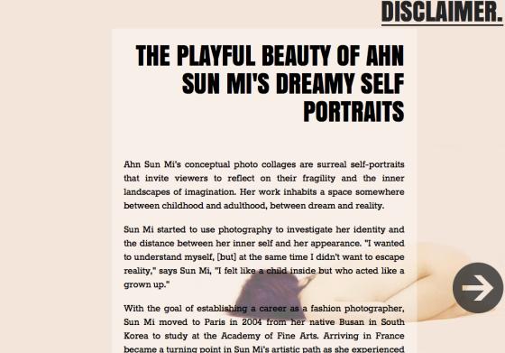 Ahn Sun Mi beautifully featured in Disclamer Magazine
