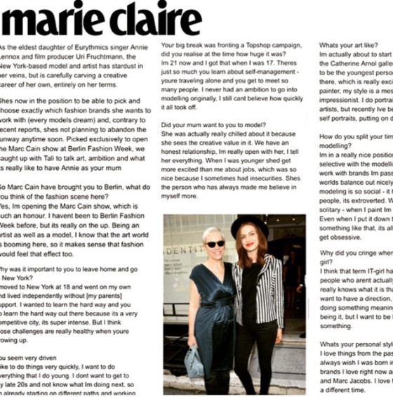 TALI LENNOX in Marie Claire about her upcoming solo exhibition
