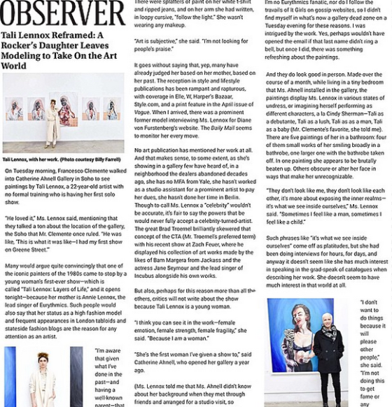 THE OBSERVER about Tali Lennox's solo debut