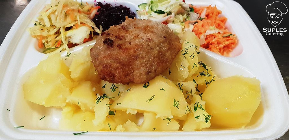 Kotlet mielony wieprzowy, ziemniaki