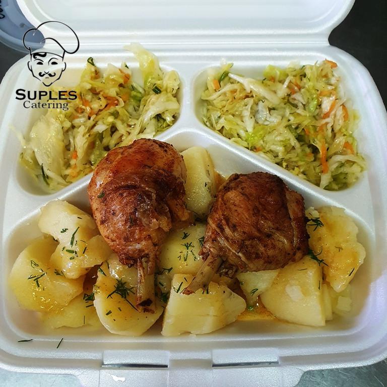 Pieczone pałki kurczaka, ziemniaki/frytki/kasza/ryż, surówki