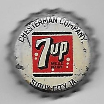 7 UP CHESTERMAN  CO., SIOUX CITY, IOWA, WHITE BACKGROUND