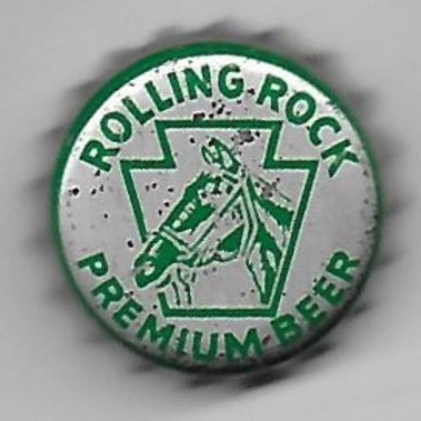 ROLLING ROCK PREMIUM BEER GREEN ON SILVER