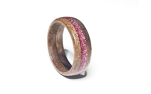 Nut & Pink Glitter Inlay