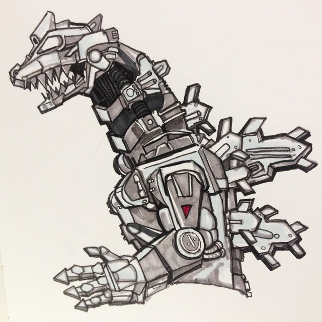 Sketch of #mechagodzilla for a mural job