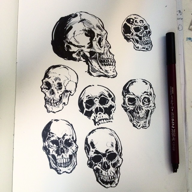 I was drawing skulls til the pen broke