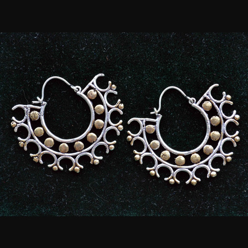 Tribal Hoop Earrings In Beautiful Design Double Sided Silver And Br Handmade