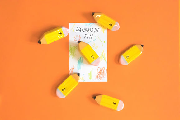 Handmade Clay Pin - Pencil