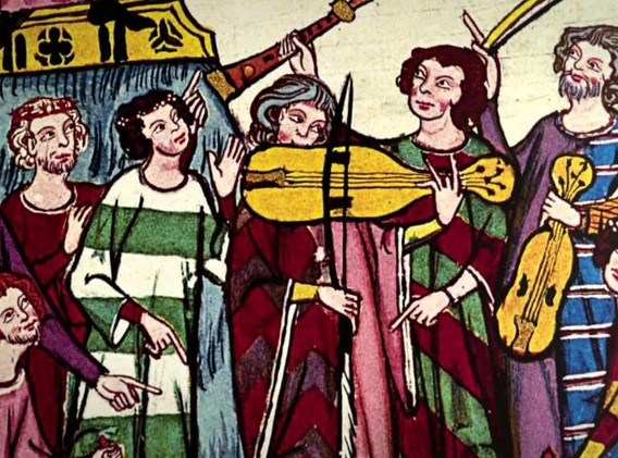 Les ménestrels: les trouvères parlent la langue d'oïl et les troubadours la langue d'oc