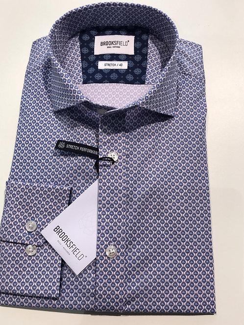 Brooksfield purple geo print business shirt