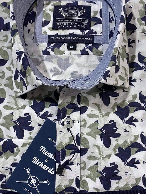 Navy & White Floral shirt