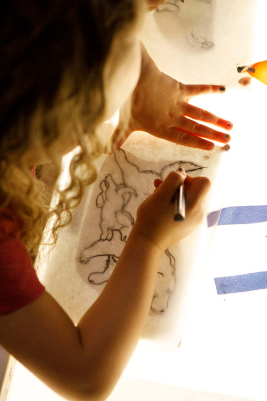 Tracing On The Lightbox Table.