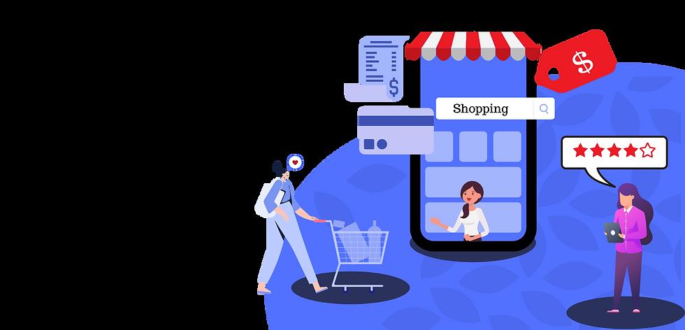 e-commerce, illustration, blue