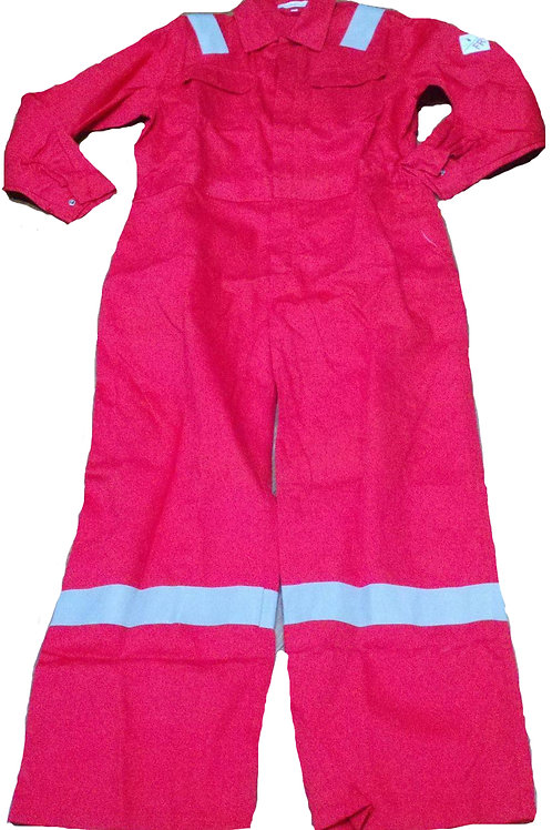 Magna FR red coverall with silver reflective fr tape