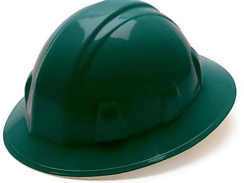 Pyramex Dark Green 4 pt full brim hard hat